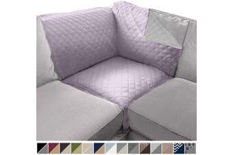 (80cm  x 80cm  Sofa Corner Sectional, Purple/Light Gray) - SOFA SHIELD Original Patent Pending Reversible Sofa Corner Sectional Protector, 80cm x 80cm , Washable Furniture Protector, 5.1cm Strap, Sectional Corner Slip Cover for Pets, Dogs, Kids, Purple