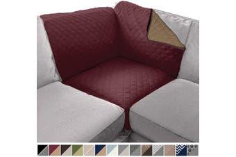 (80cm  x 80cm  Sofa Corner Sectional, Burgundy/Tan) - Sofa Shield Original Patent Pending Reversible Sofa Corner Sectional Protector, 80cm x 80cm , Washable Furniture Protector, 5.1cm Strap, Sectional Corner Slip Cover for Pets, Dogs, Kids, Burgundy Tan