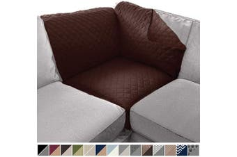 (80cm  x 80cm  Sofa Corner Sectional, Chocolate/Chocolate) - Sofa Shield Original Patent Pending Reversible Sofa Corner Sectional Protector, 80cm x 80cm , Washable Furniture Protector, 5.1cm Strap, Sectional Corner Slip Cover for Pets, Dogs, Chocolate