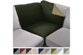 (80cm  x 80cm  Sofa Corner Sectional, Hunter Green/Sage) - Sofa Shield Original Patent Pending Reversible Sofa Corner Sectional Protector, 80cm x 80cm , Washable Furniture Protector, 5.1cm Strap, Sectional Corner Slip Cover for Pets, Dogs, Hunter Green