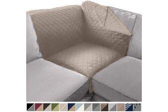 (80cm  x 80cm  Sofa Corner Sectional, Light Taupe/Light Taupe) - Sofa Shield Original Patent Pending Reversible Sofa Corner Sectional Protector, 80cm x 80cm , Washable Furniture Protector, 5.1cm Strap, Sectional Corner Slip Cover for Pets, Dog, Cat,