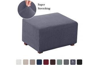 (Large, Gray) - Flamingo P Stretch Fabric Storage Ottoman Covers Ottoman Slipcovers Footrest Sofa Slipcovers Footstool Protector Covers (Grey, Normal Size)