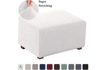 (X-Large, Ivory) - Stretch Fabric Rectangle Folding Storage Stool Ottoman Cover Footrest Sofa Slipcovers Footstool Protector Covers (Oversized, Ivory)