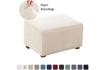 (Large, Natural) - 1 Piece Stretch Ottoman Cover Folding Storage Stool Furniture Protector Soft Rectangle Slipcover with Elastic Bottom Ottoman Cover Extra Large(Normal Size, Natural)