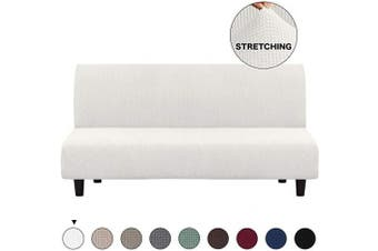 (Ivory White) - Turquoize Futon Slipcovers for Furniture Sofa Cover, Ivory Spandex Slipcover/Lounge Cover, Stretch Anti-Wrinkle Slip Resistant Form Fit Slipcover 3 Seater Sofa Cover (Futon, Ivory)
