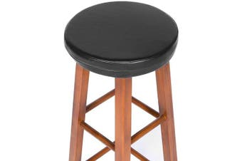 (33cm (suitable for 30cm  - 33cm  stool)) - Shinnwa Bar Stool Cushion Round Foam Padded Seat Cushions Waterproof Leather Bar Stool Covers with Elastic and Non Slip Bottom 33cm Black