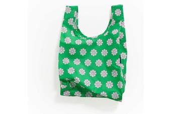 (Green Daisy) - BAGGU Small Reusable Shopping Bag, Ripstop Nylon Grocery Tote or Lunch Bag, Green Daisy