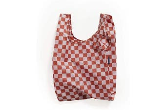 (Rose Checkerboard) - BAGGU Small Reusable Shopping Bag, Ripstop Nylon Grocery Tote or Lunch Bag, Rose Checkerboard