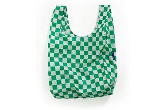 (Green Checkerboard) - BAGGU Small Reusable Shopping Bag, Ripstop Nylon Grocery Tote or Lunch Bag, Green Checkerboard