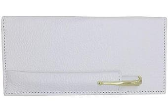 (White) - White Colorado Genuine Leather Chequebook Cover with Matching Leather Hand-wrapped Gold Pen – Made in USA by Real Leather Creations FBA650