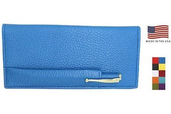 (Blue) - Blue Colorado Collection Genuine Leather Chequebook Cover with Matching Leather Hand-wrapped Gold Pen – Made in USA by Real Leather Creations FBA643
