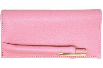 (Pink) - Pink Genuine Leather Chequebook Cover with Matching Leather Hand-wrapped Gold Pen Colorado Collection – American Factory Direct – Made in USA by Real Leather Creations FBA1862