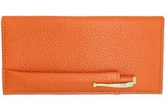 (Orange) - Orange Genuine Colorado Leather Collection Chequebook Cover with Matching Leather Hand-wrapped Gold Pen – American Factory Direct – Made in USA by Real Leather Creations FBA647