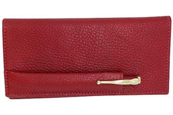(Red Cherry) - Cherry Red Colorado Collection Genuine Leather Chequebook Cover with Matching Leather Hand-wrapped Gold Pen – Made in USA by Real Leather Creations FBA644