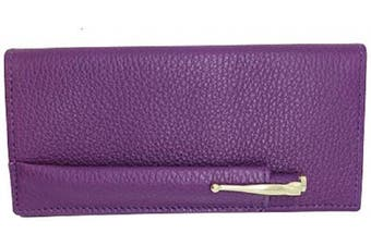 (Purple) - Purple Genuine Colorado Leather Collection Chequebook Cover with Matching Leather Hand-wrapped Gold Pen – Gift Box - Factory Direct – Made in USA by Real Leather Creations FBA648