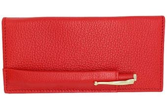 (Red) - Red Genuine Leather Colorado Collection Chequebook Cover with Matching Leather Hand-wrapped Gold Pen – American Factory Direct – Made in USA by Real Leather Creations FBA645