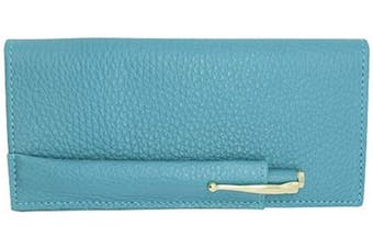 (Teal) - Teal Colorado Collection Genuine Leather Chequebook Cover with Matching Leather Hand-wrapped Gold Pen – Gift Box - Factory Direct – Made in USA by Real Leather Creations FBA649