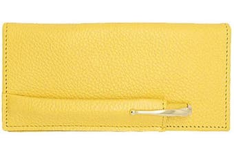 (Yellow) - Yellow Genuine Leather Chequebook Cover with Matching Leather Hand-wrapped Gold Pen – Made in USA by Real Leather Creations FBA651