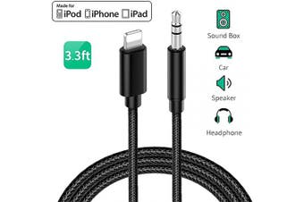 (Black-LWH) - Aux Cable for iPhone to 3.5mm Car Premium Auxiliary Audio Cord to Home Stereo/Headphone/Car Stereo/Speaker/Adapter Nylon Braided for iPhone 11/X/XS/XR/8/8P/7/7P Support All iOS (1m) - Black