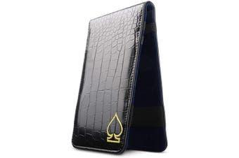 (Black) - CRAFTSMAN GOLF Crocodile Pattern Golf Scorecard Holder and Yardage Book Cover Case Protector