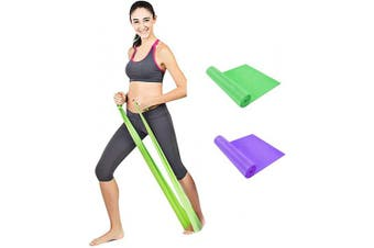 (2pc,Purple&Green) - Qian Elastic Bands for Exercise,Professional Latex Resistance Band, Perfect for Strength Training,Physical Therapy, Pilates, at-Home Workouts, Yoga