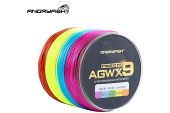 (14kg/0.23MM-500M, Multi-color) - ANGRYFISH Super Power 9 Strands Braided Fishing Line,Cost-Effective Smooth Superline-Extremely Durable-Wonderful Tool for Fishing Enthusiast-Multiple Colours