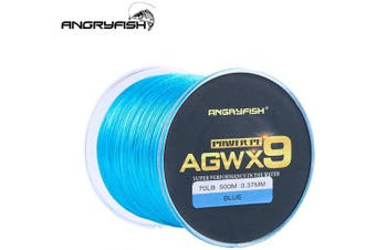 (18kg/0.28MM-500M, Blue) - ANGRYFISH Super Power 9 Strands Braided Fishing Line,Cost-Effective Smooth Superline-Extremely Durable-Wonderful Tool for Fishing Enthusiast-Multiple Colours