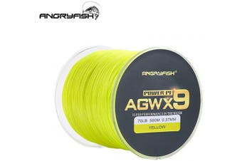 (6.8kg/0.10MM-500M, Yellow) - ANGRYFISH Super Power 9 Strands Braided Fishing Line,Cost-Effective Smooth Superline-Extremely Durable-Wonderful Tool for Fishing Enthusiast-Multiple Colours