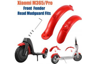 Konesky Electric Scooter Fender, Fuel Injection Modified Red Mudguard Compatible with Xiaomi M365 Electric Scooter Front Rear Mud Guard Replacement Kit