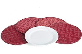 (Divider 4PK - 20cm , Red Quilted Polyester) - Covermates Keepsakes – Set of 4 Dividers - Scratch & Breakage Protection - Dish Dividers - Dish Storage - Red