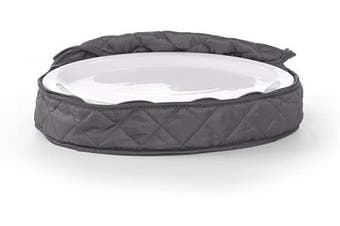 (Oval Platter, Slate Quilted Polyester) - Covermates Keepsakes - Small Oval Platter Storage – Padded Protection - ID Window - Dish Storage - Slate