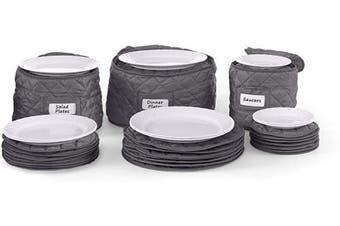 (Dish Set - 3PC, Slate Quilted Polyester) - Covermates Keepsakes – 3 Piece Dish Storage Set – Padded Protection - ID Window - Dish Storage - Slate