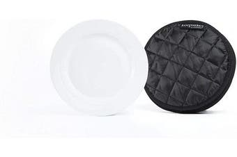 (4PK Dividers - 17cm , Black Quilted Polyester) - Covermates Keepsakes – Set of 4 Dividers - Scratch & Breakage Protection - Dish Dividers - Dish Storage - Black
