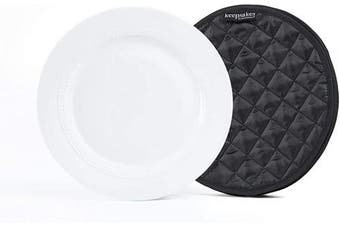 (4PK Dividers - 28cm , Black Quilted Polyester) - Covermates Keepsakes – Set of 4 Dividers - Scratch & Breakage Protection - Dish Dividers - Dish Storage - Black