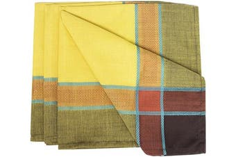 (50cm  x 50cm , Set of 4, Marigold) - Fennco Styles Maison Beaujard Collection Modern Provençal 50cm x 50cm Cloth Napkin, Set of 4 – Marigold Diner Napkins for Banquets, Family Dinners, Special Events and Table Décor