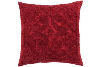 (Euro Sham, Burgundy) - Better Trends Ashton Collection in Medallion Design 100% Cotton Tufted Chenille, Euro Sham, Burgundy