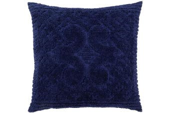 (Euro Sham, Navy) - Better Trends Ashton Collection in Medallion Design 100% Cotton Tufted Chenille, Euro Sham, Navy