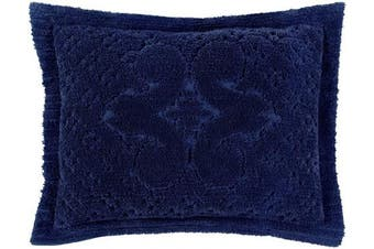 (Standard Sham, Navy) - Better Trends Ashton Collection in Medallion Design 100% Cotton Tufted Chenille, Standard Sham, Navy