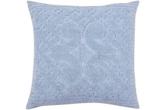 (Euro Sham, Blue) - Better Trends Ashton Collection in Medallion Design 100% Cotton Tufted Chenille, Euro Sham, Blue