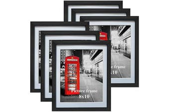 (8X10) - 8x10 Black Picture Frames with Mat for Wall or Table Top Decoration, Set of 6
