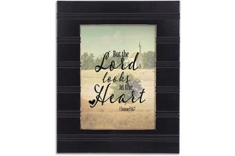 (Black Beaded Board) - Cottage Garden He Looks at The Heart Black Beaded Board 5 x 7 Table Top and Wall Photo Frame