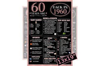 (1960 60th Rose Gold) - Rose Gold Back In 1960 Party Poster - Large 33cm x 48cm . Laminated - Black and Rose Gold - 60th Birthday Gifts, 60th Wedding Anniversary, 1960 Class Reunion, Party Supplies (1960 60th Rose Gold)