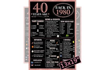 (1980 40th Rose Gold) - Rose Gold Back In 1980 Party Poster for Women - Large 33cm x 48cm . Laminated - Black and Rose Gold - 40th Birthday Gifts, 40th Wedding Anniversary, 40th Class Reunion, Party Supplies