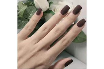 (Dark brown) - Jovono Solid Colour False Nails Matte Fake Nails Square Head Claw Nails Artificial Full Cover Nails for Women and Girls (24PCS) (Dark brown)
