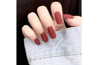 (Caramel colour) - Jovono Solid Colour False Nails Matte Square Head Fake Nails Claw Nails Artificial Full Cover Nails for Women and Girls (24PCS) (Caramel colour)