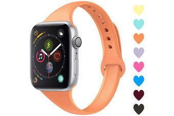 (38mm/40mm, C,Papaya) - Acrbiutu Bands Compatible with Apple Watch 38mm 40mm 42mm 44mm, Slim Thin Narrow Replacement Silicone Sport Accessory Strap Wristband for iWatch Series 1/2/3/4/5 Women Men