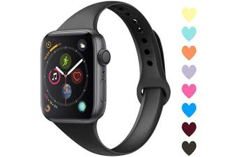 (42mm/44mm, C,Black) - Acrbiutu Bands Compatible with Apple Watch 38mm 40mm 42mm 44mm, Slim Thin Narrow Replacement Silicone Sport Accessory Strap Wristband for iWatch Series 1/2/3/4/5 Women Men