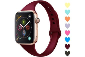 (38mm/40mm, A,Wine Red) - Acrbiutu Bands Compatible with Apple Watch 38mm 40mm 42mm 44mm, Slim Thin Narrow Replacement Silicone Sport Accessory Strap Wristband for iWatch Series 1/2/3/4/5 Women Men