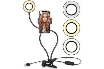 Selfie Ring Light with Stand and Cell Phone Holder,Phone Makeup Light for Live Stream/Makeup,Mini LED Camera Ring Light [3-Light Mode] [10-Level Brightness] with Flexible Arms for iPhone Android