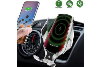 (Silver) - Wireless Car Charger, 10W Qi Auto-Clamping Car Charger Mount, Air Vent Dashboard Fast Charging Car Charger Holder Compatible iPhone SE/11/11 Pro/11 Pro Max/Xs MAX/XS/XR/X/8/8+, Samsung S10/S10+/S9/S9+